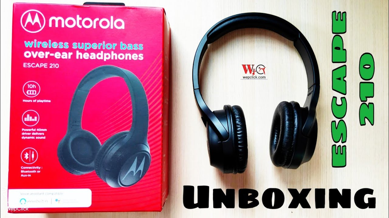 Motorola Escape 210 Over The Ear Bluetooth Headphones Black Unboxing Wepclick Youtube