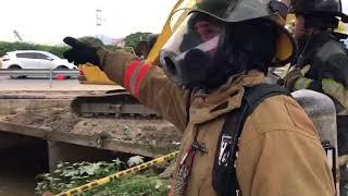 Emergencia en La Lucha: retroexcavadora reventó tubería de gas