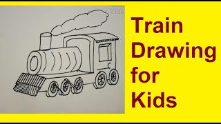 How to draw Train Engine drawing for kids and begineers ?