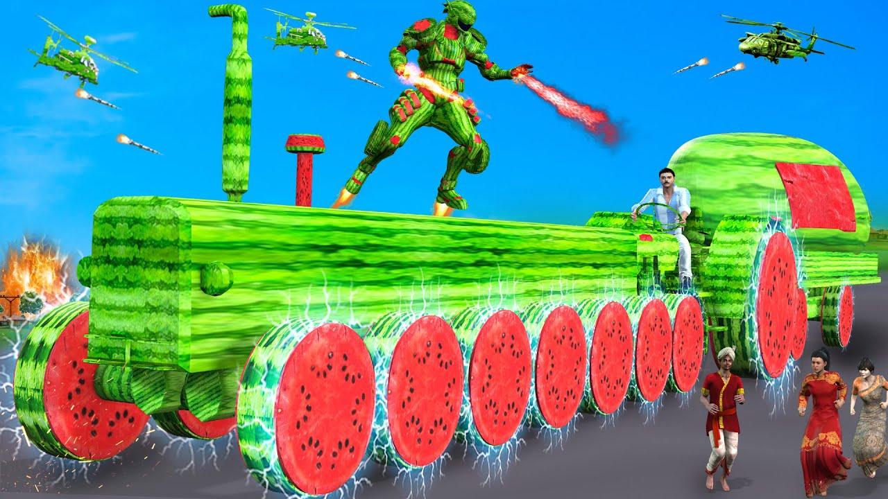 दुई तरबूज 8 पहिया ट्रैक्टर Magical 8 Wheel Watermelon Tractor Comedy Video Stories Hindi Kahaniya
