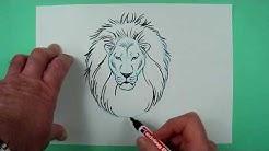 Löwenkopf ganz einfach gezeichnet. Zeichnen für Kinder