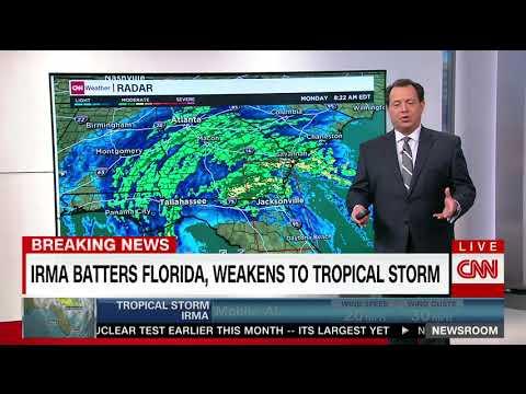 Irma heads northwest, weakens to tropical storm