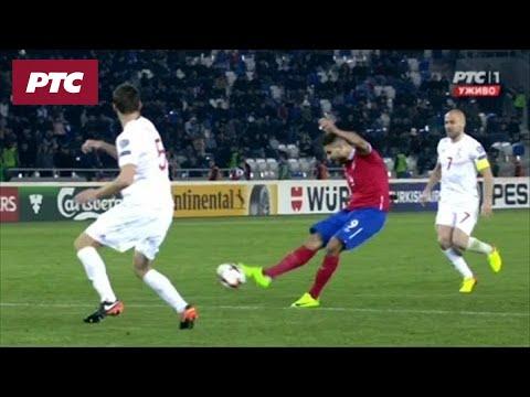 Fudbal: Gruzija - Srbija 1:2 (gol Mitrovića i poništeni gol)