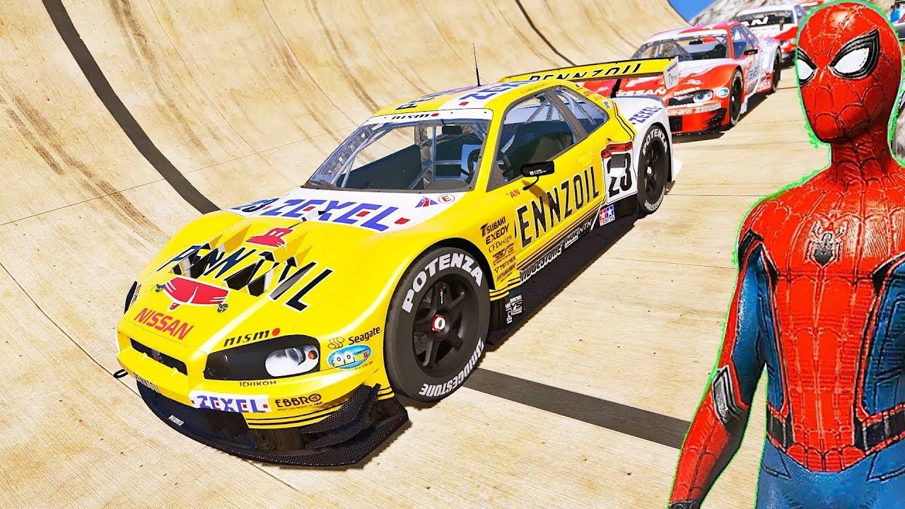 SUPER CARROS Esportivos com HOMEM ARANHA e HERÓIS na Mega Rampa - IR GAMES