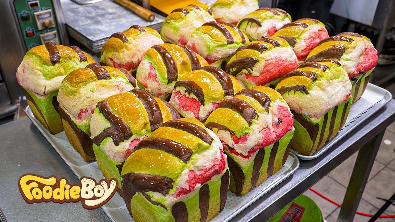 수박 식빵이 나타났다!! 식빵에서 향긋한 과일향까지? / Amazing Cube Watermelon Bread / Korean street food