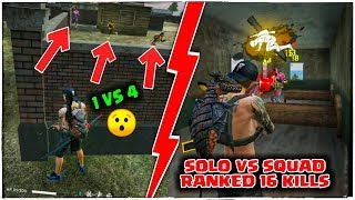 FREE FIRE RANKED SOLO VS SQUAD 16 KILLS GAMEPLAY//GARENA FREE FIRE !!!