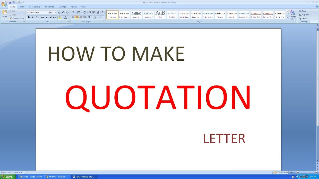 Microsoft excel how to make quotation letter youtube altavistaventures