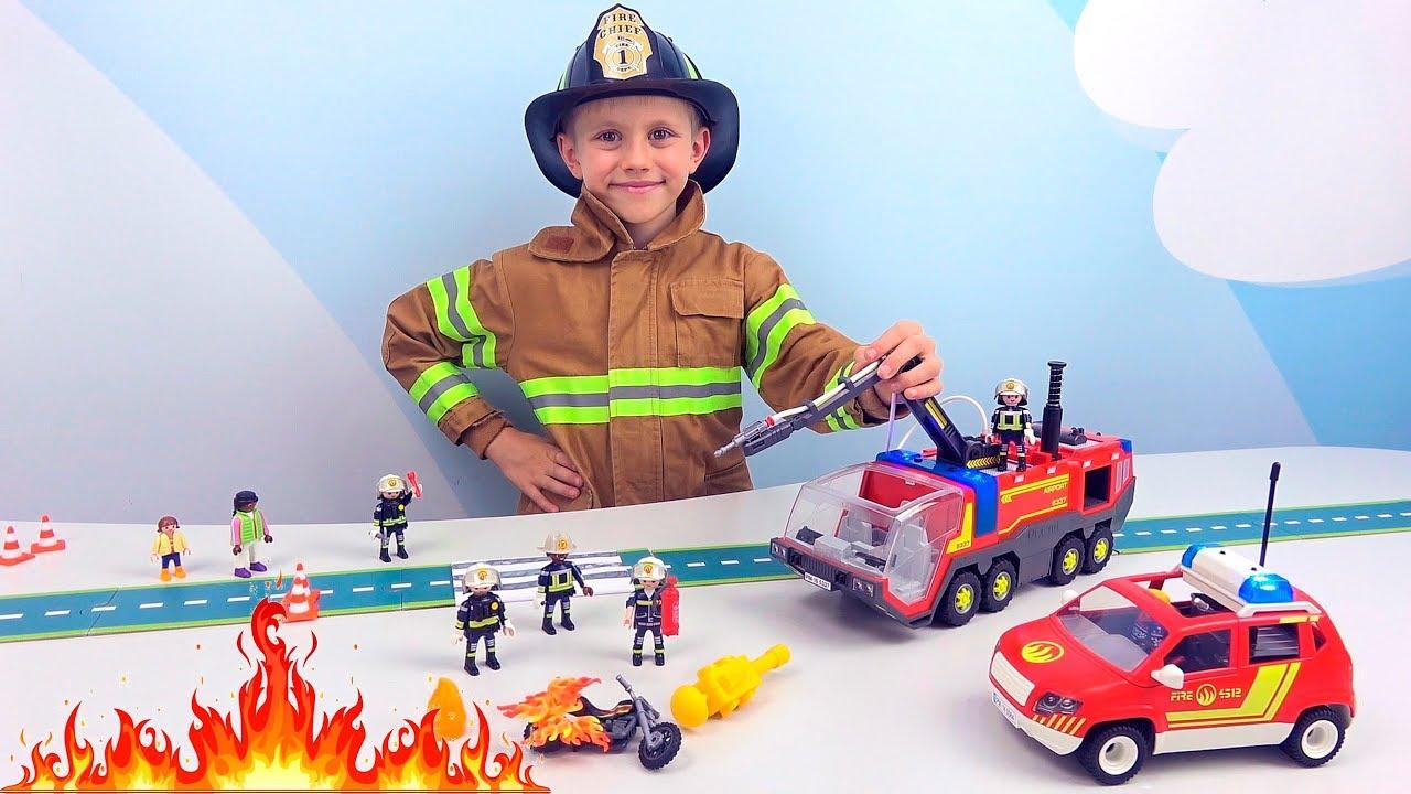 ПОЖАРНЫЙ ДАНИК и новые Пожарные PLAYMOBIL - Пожарные машины для детей