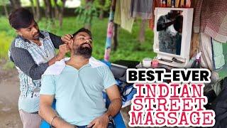 Best ever Street head massage, Neck cracking in a wonderful 🌧️Rainy day, Indian Barber Pradeev 💈ASMR