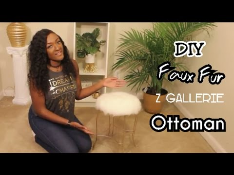 DIY Z Gallerie Inspired Faux Fur Ottoman | WOW UNDER $10!!! || Chanelle Novosey
