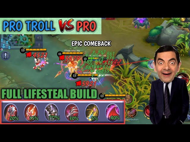 PRO TROLL VS PRO | 1 HIT FULL HP | FULL LIFESTEAL BUILD | MOBILE LEGENDS