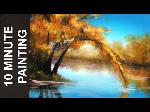 Painting an Autumn Tree Along the River with Acrylics in 10 Minutes!