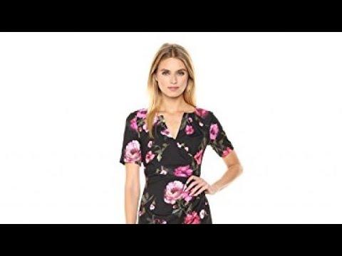 Adrianna Papell Women\'s Autumn Rose Side Drape Sheath Dress - YouTube