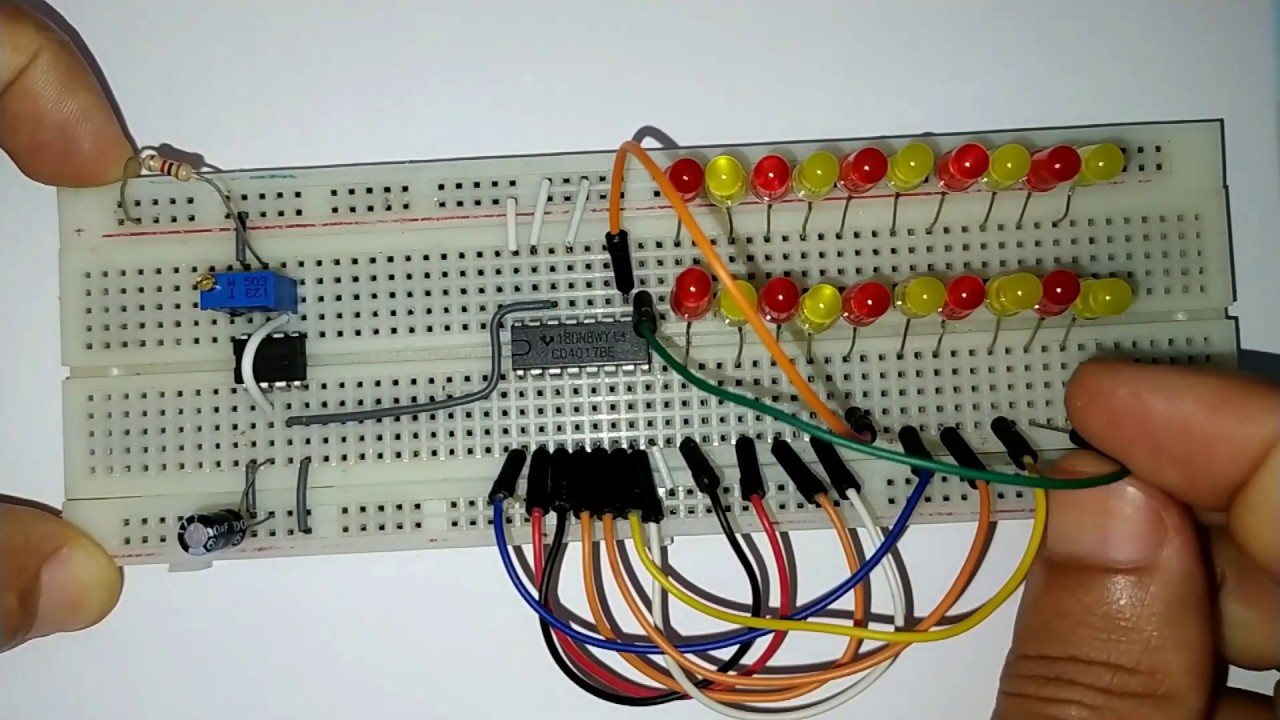 how to make led chaser using 4017 counter and 555 timer ...