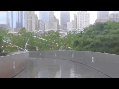 Riding the BP Pedestrian Bridge at Chicago