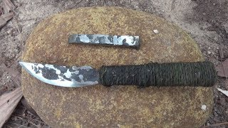 Primitive Life : Make knife from Iron-Full process!!