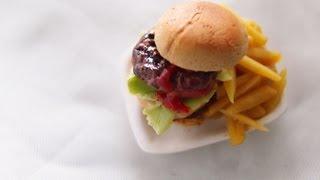 Hamburger - miniature food tutorial using polymer clay
