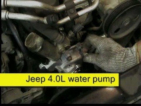 Jeep 4.0L water pump replacement DIY - YouTube