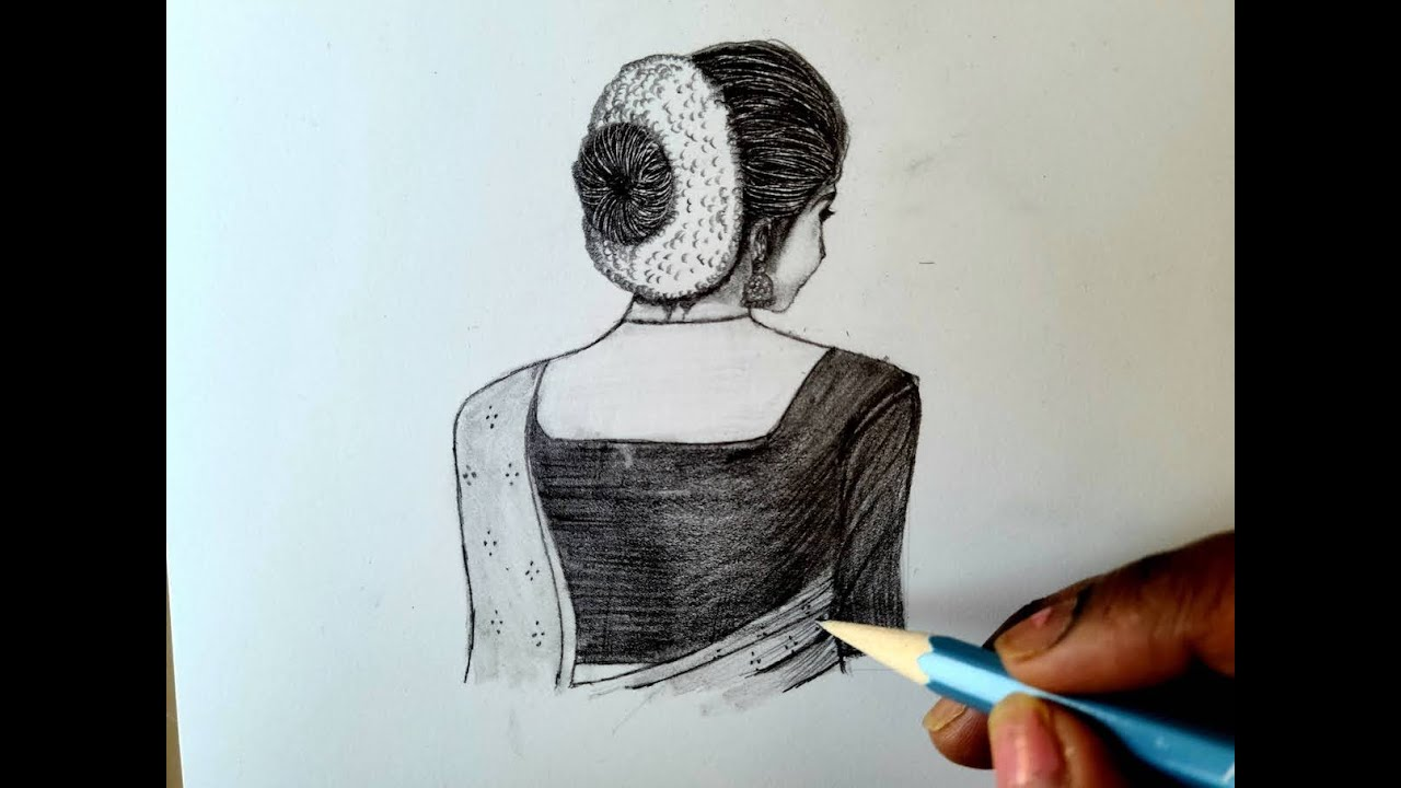 Easy Pencil Sketch How To Draw An Indian Girl Step By Step For Beginners Easy Drawing Youtube