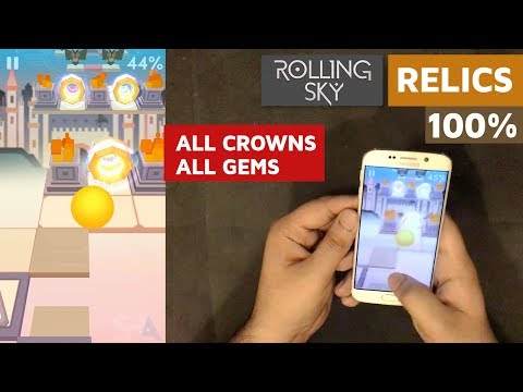 Rolling Sky RELICS 100% All 3/3 CROWNS 10/10 GEMS Complete   SHAvibe