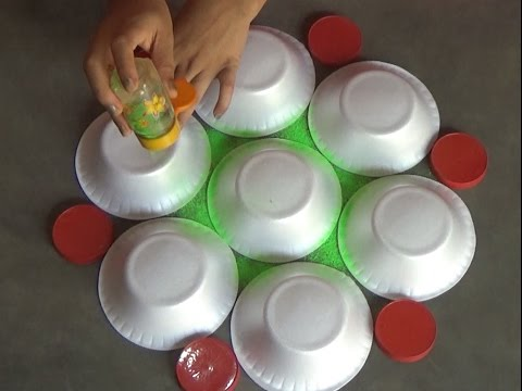 Very easy rangoli designs with bowls // Innovative rangoli //paper bowls art //creative Alpana
