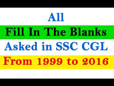 |All Fill in The Blanks| Asked in SSC CGL from 1999 to 2016 #English