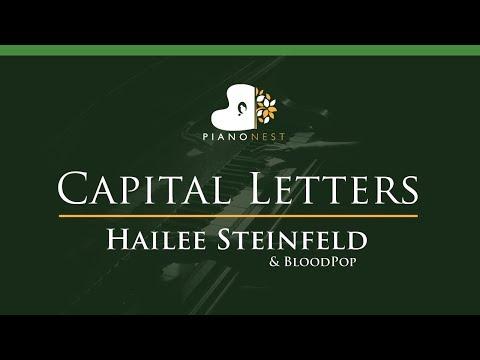 Capital Letters - Hailee Steinfeld & BloodPop - LOWER Key (Piano Karaoke / Sing Along)
