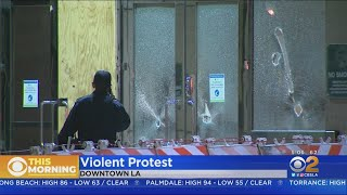 Vandalism Occurs During Downtown LA Protests Possibly Spurred By Jonathan Price Killing