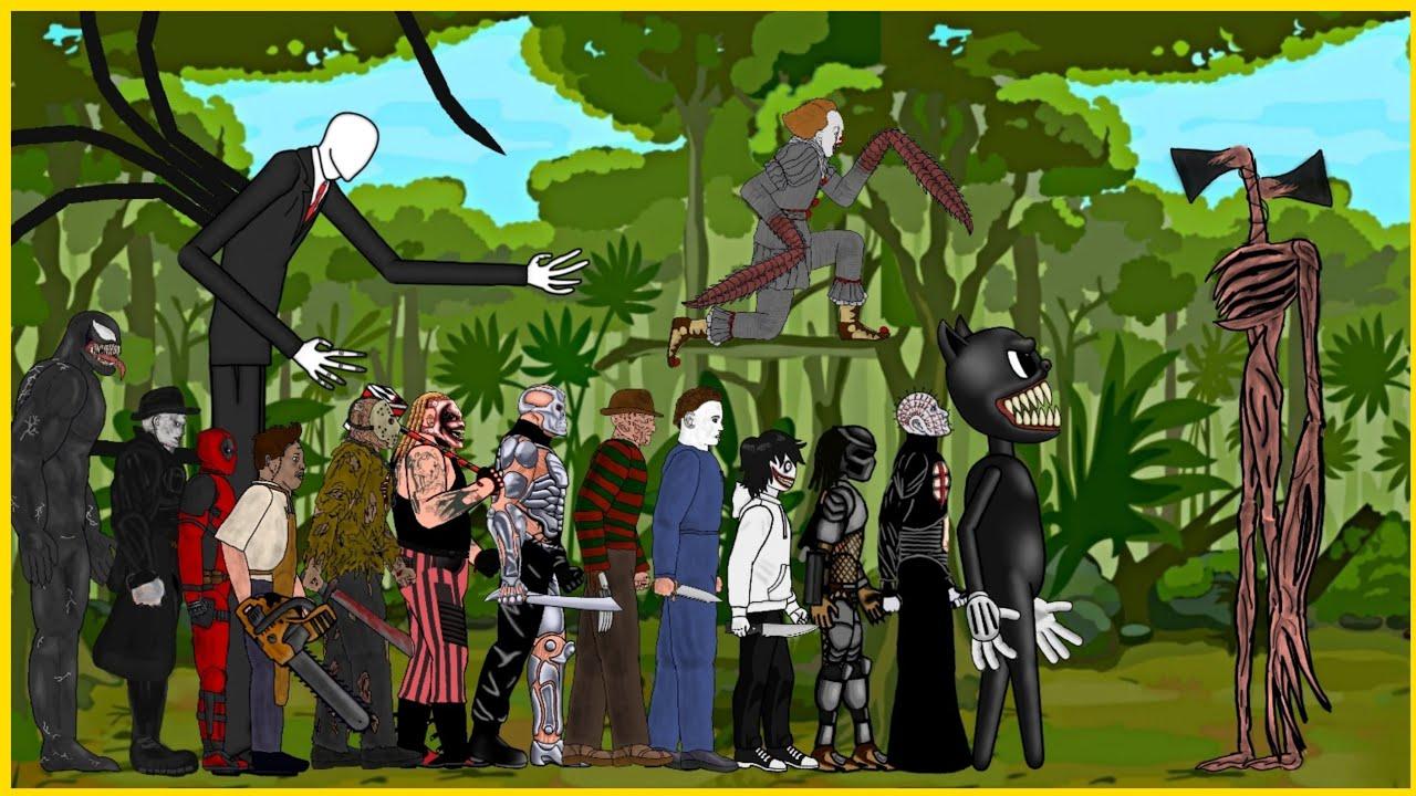 Siren Head vs Cartoon Cat, Slenderman, Predator, Pinhead, Pennywise, Michael, Freddy, Jason x, +More