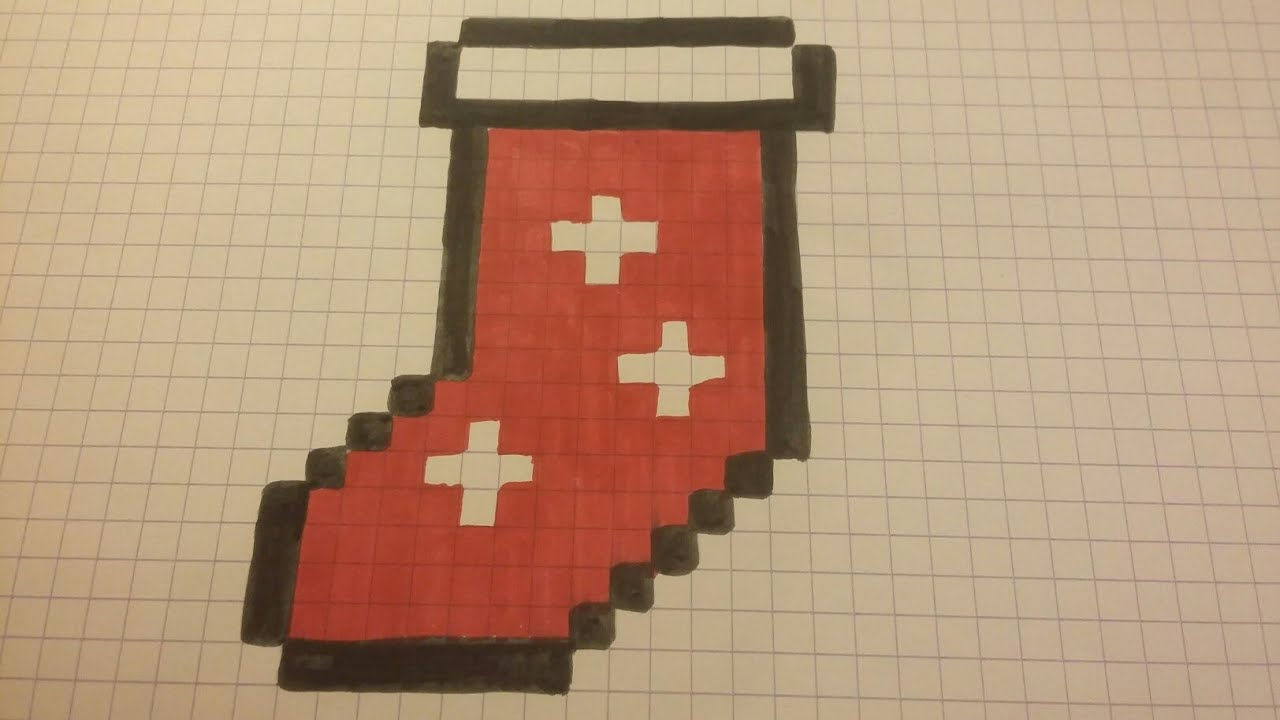 Christmas Draw Chaussette De Noel Pixel Art Youtube