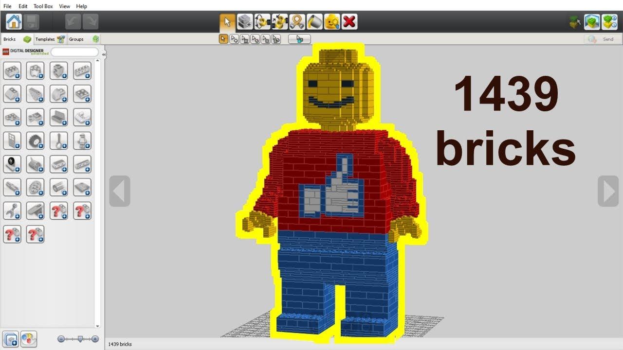 How To Build Giant Lego Minifigure Lego Digital Designer Moc Youtube
