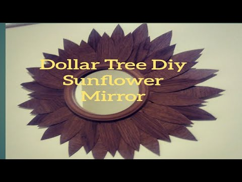 DOLLAR TREE DIY SUNFLOWER WALL DECOR MIRROR. UNIQUE FAUX WOOD ACCENT MIRROR/ INEXPENSIVE WALL MIRROR