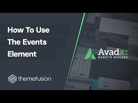 How To Use The Events Element Video