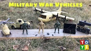 Military Ground Drone Helicopter Airplane and Tank Play Set Unboxing