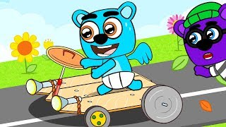 Fun ideas DIY for kids. In the new cartoon, the cute family will teach how to make car for children