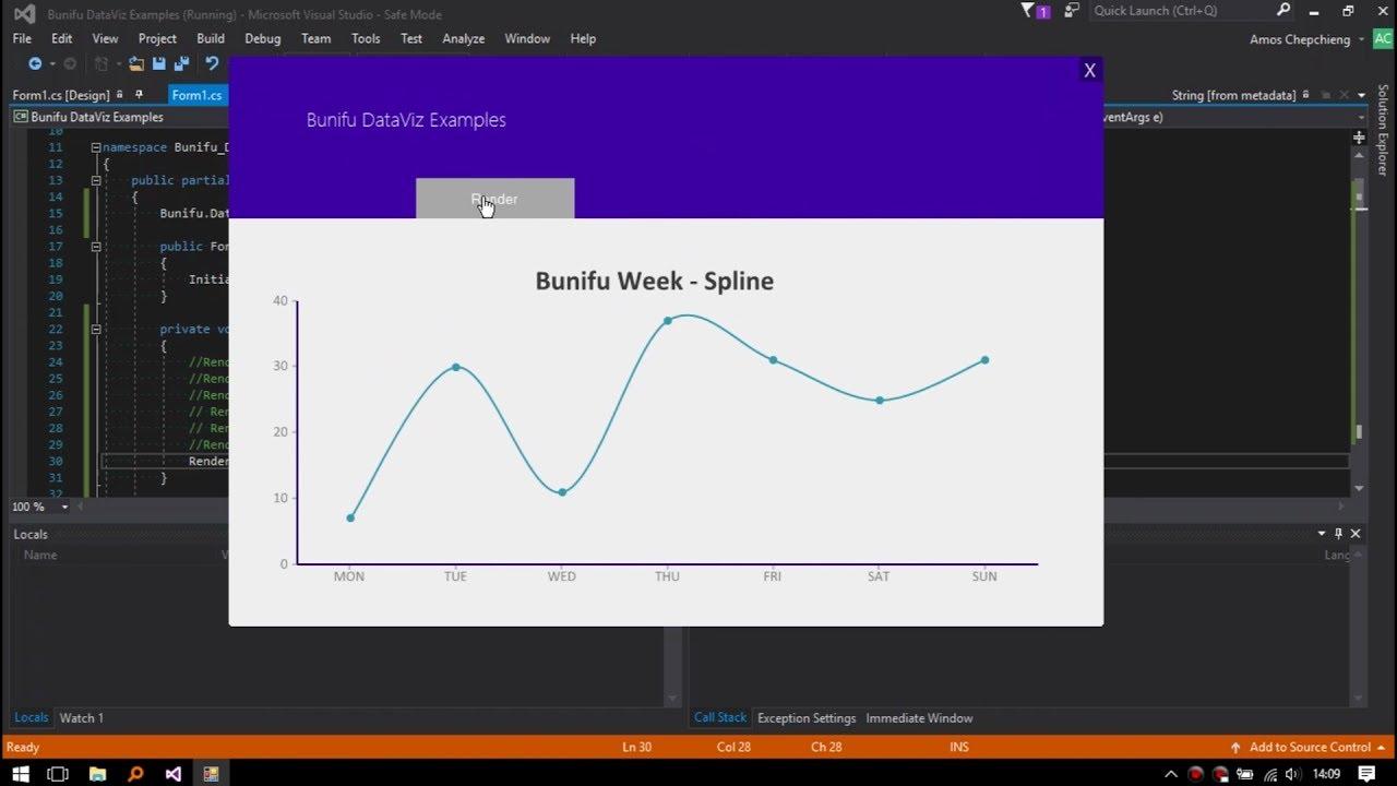Spline Chart - Bunifu Framework | Empowering software