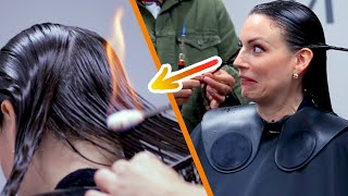 Women Try Fire Haircuts