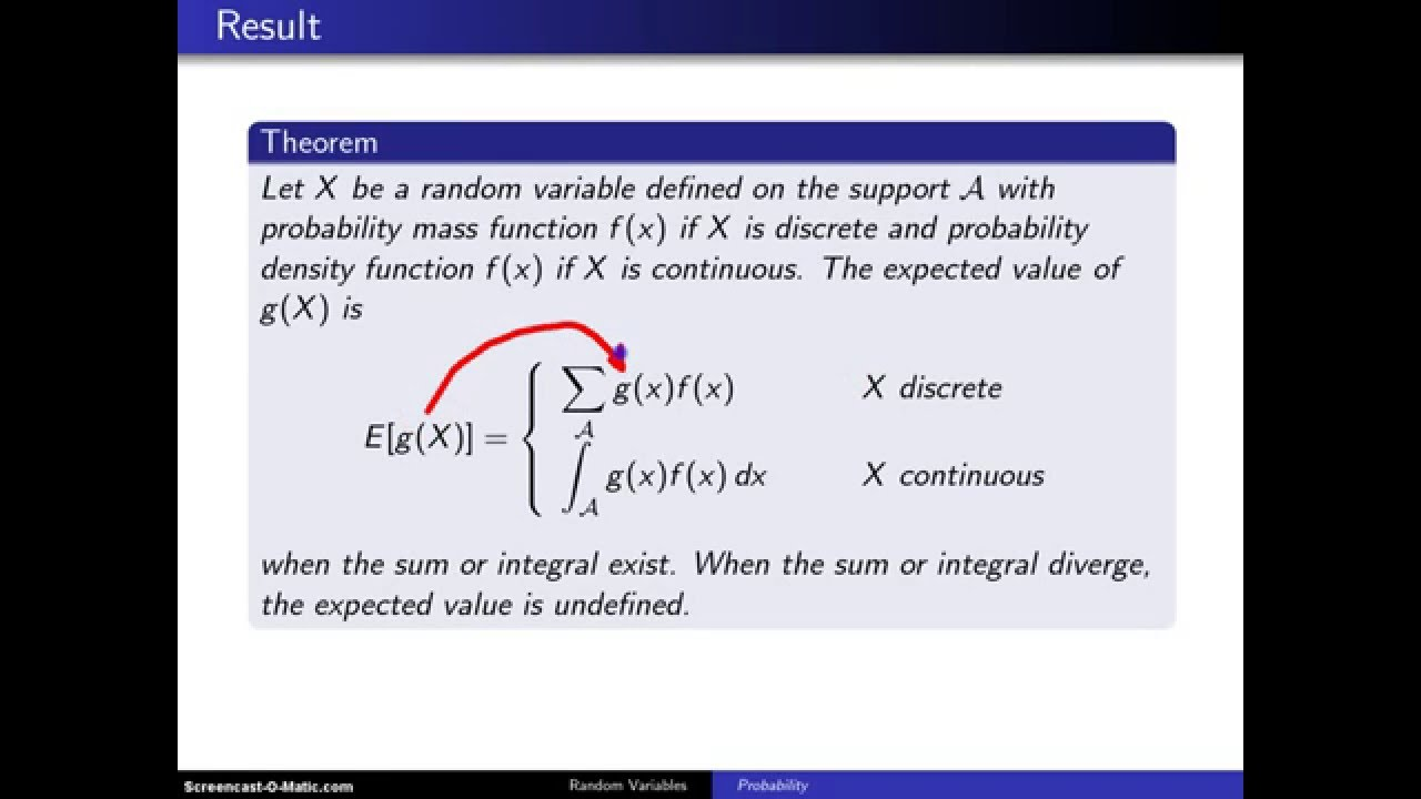 Expectation Of A Function Of A Random Variable Example 1 Youtube