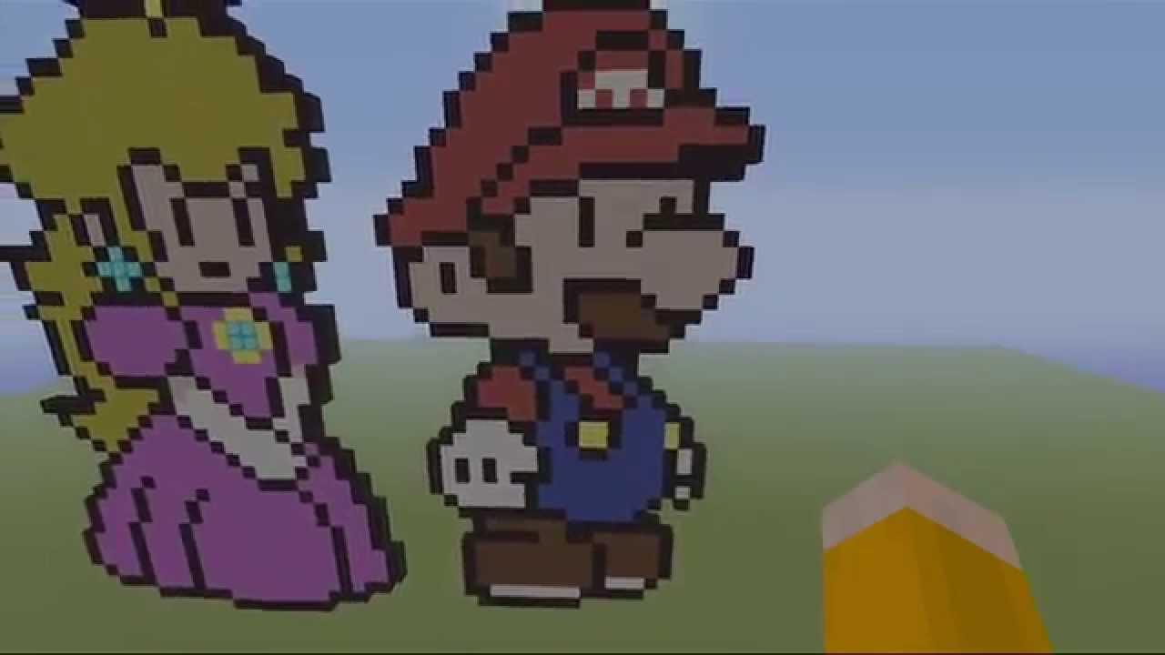 Super Mario Bros Minecraft Art Mario And Peach Pixel Art