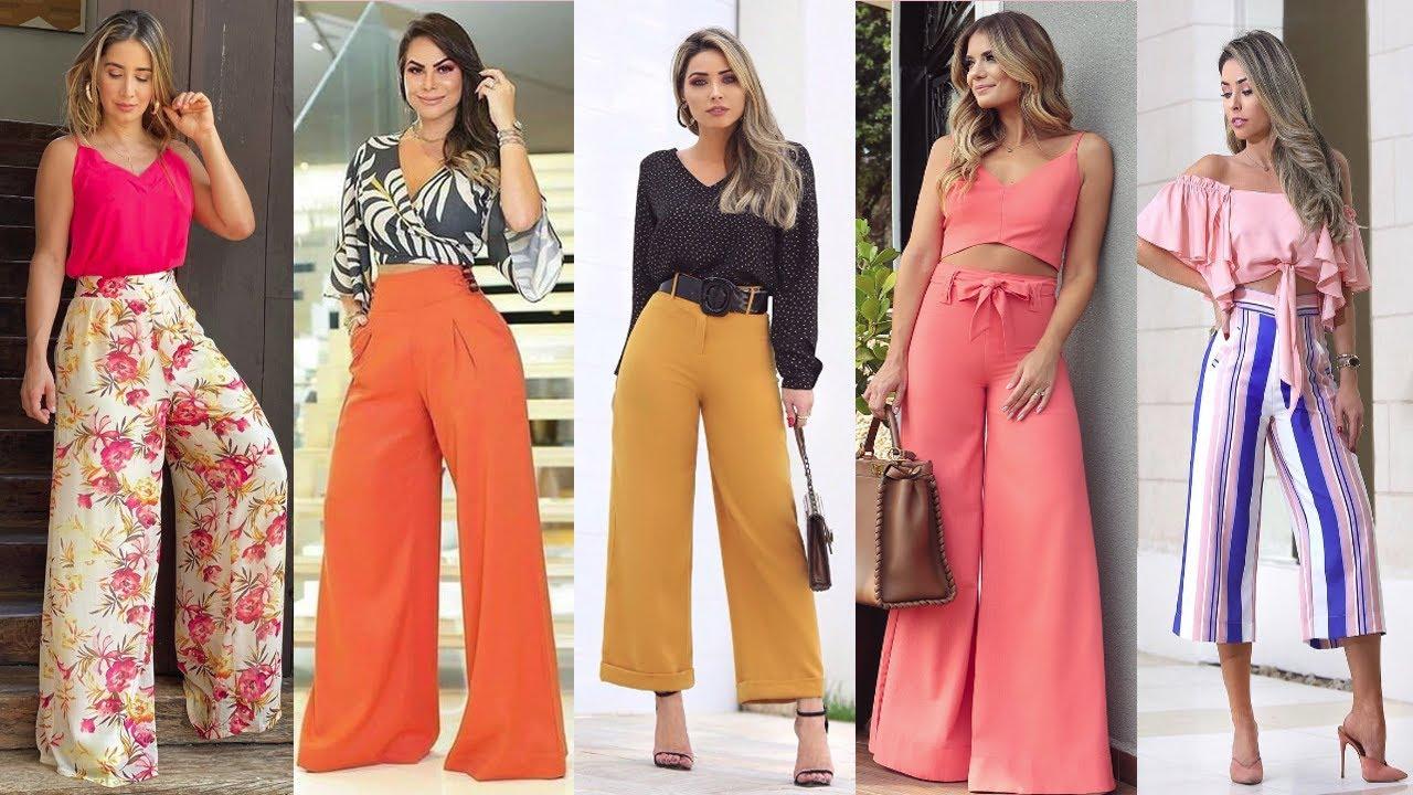 Looks Elegantes Y Casuales Con Pantalones Palazos Pantalones En Tendencia 2020 2021 Youtube