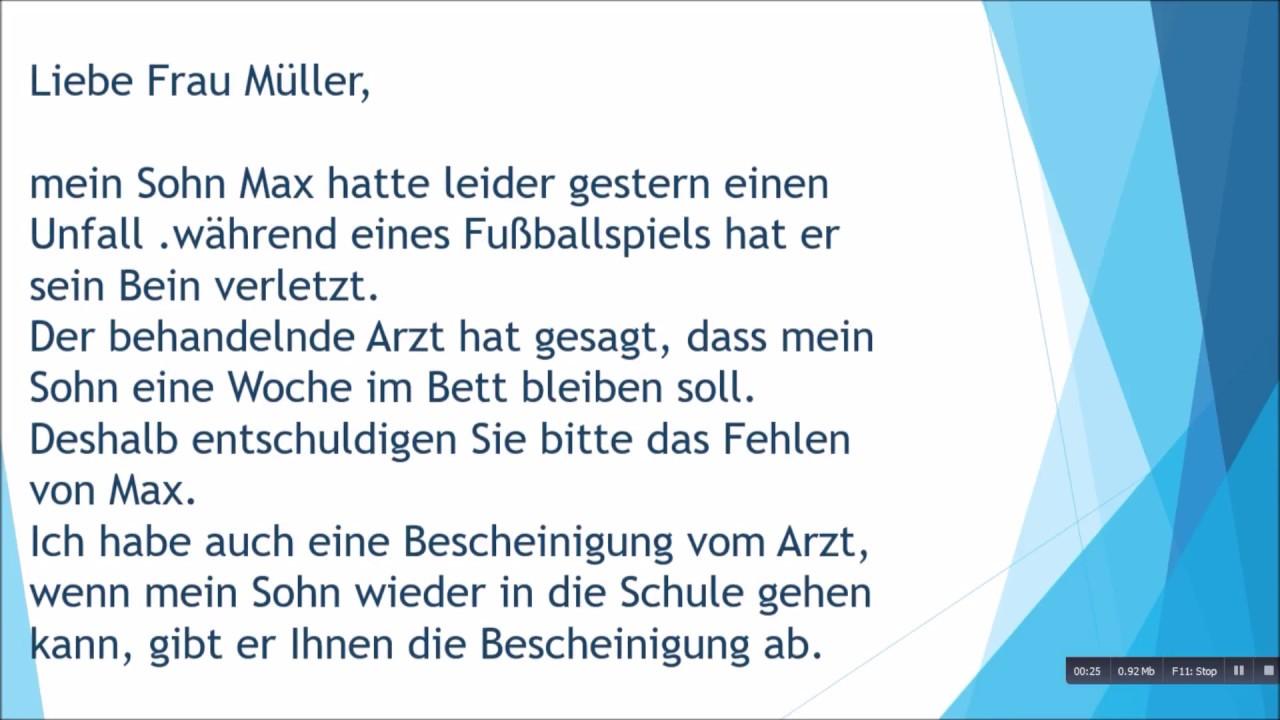 Entschuldigung für die Schule| Brief schreiben zur Prüfung B1 - YouTube