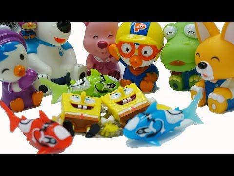 뽀로로 물총 로봇피쉬 스폰지밥  개구리알 목욕놀이 장난감 Robofish & Pororo Water Play Toys