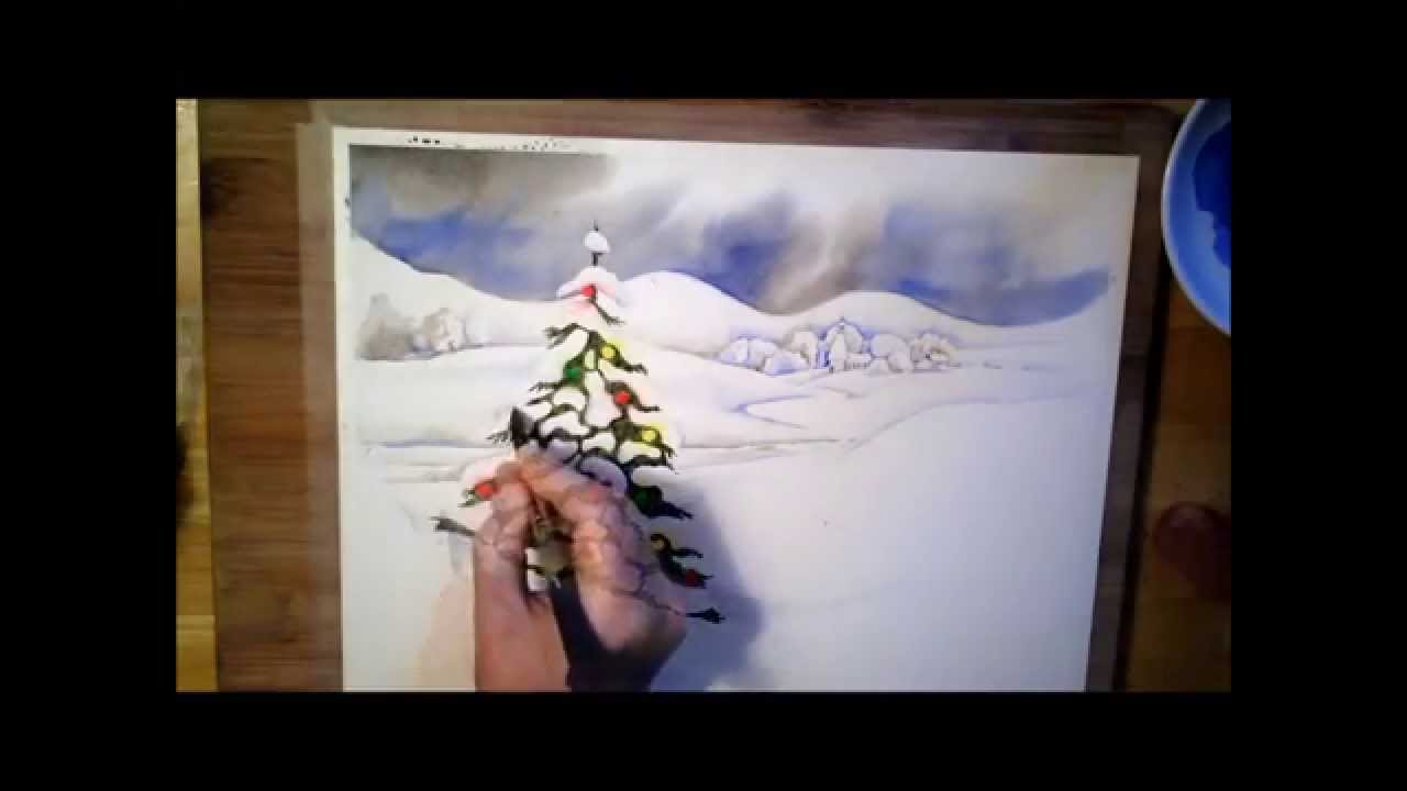 A christmas tree watercolor painting process youtube Christmas card scenes to paint