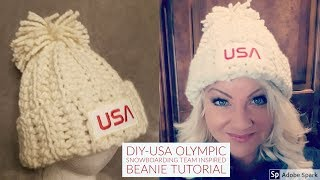 CROCHET: How to make USA Winter Olympic Snowboard Beanie Hat Tutorial