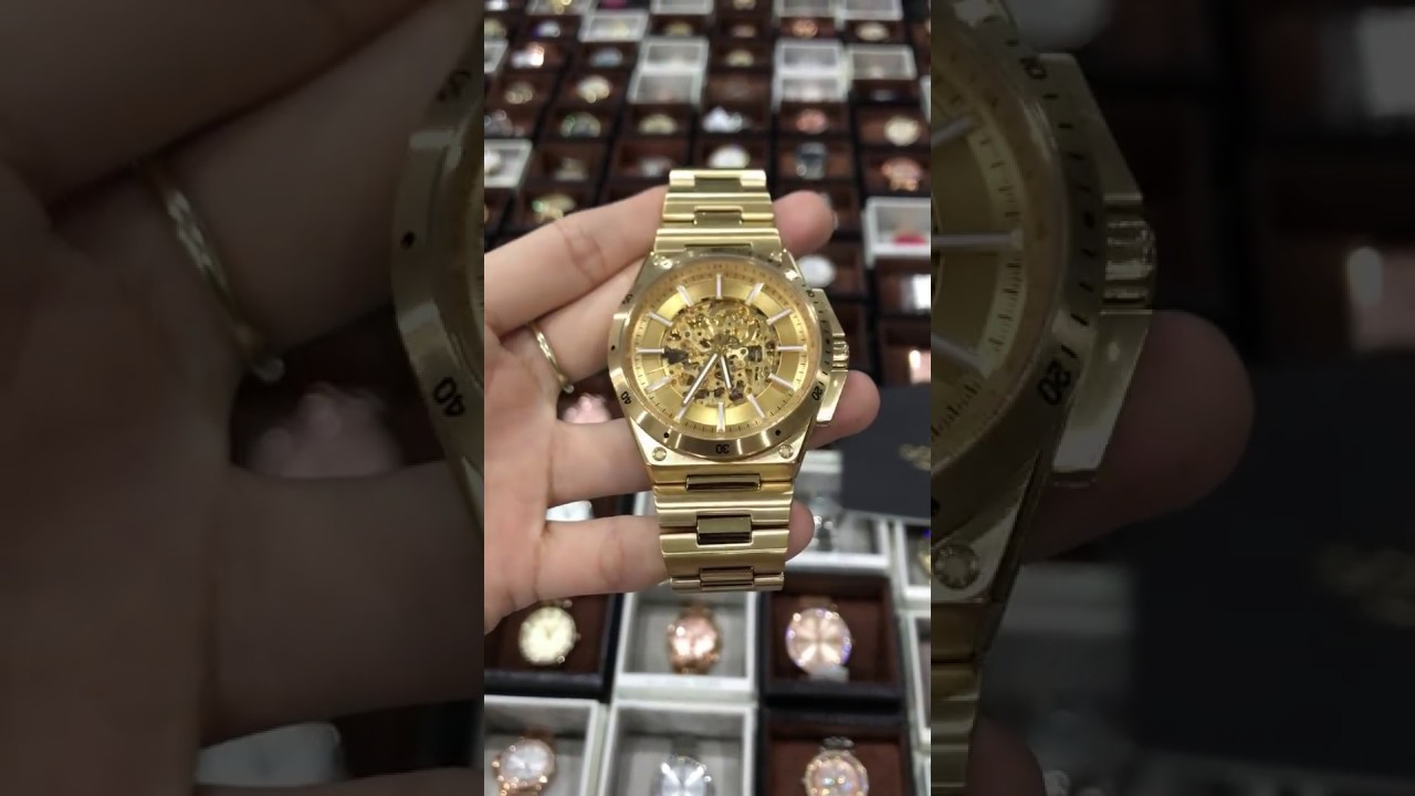 35825df35add MICHAEL KORS MK9027 Wilder Men s Gold Skeleton Dial Automatic Watch ...