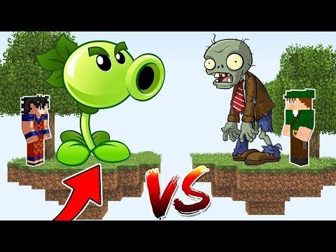 ILHA DA PLANTA VS ILHA DO ZUMBI no MINECRAFT !! (PLANTS VS ZOMBIES)