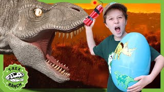 A Giant Dinosaur Surprise Egg Hunt at T-Rex Ranch with Park Ranger LB! Dinosaur Videos For Kids
