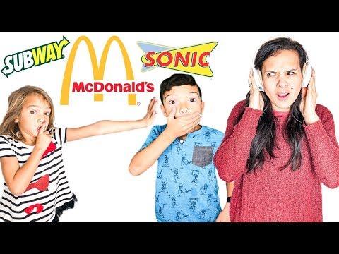 No Talking WHISPER Fast Food Challenge!! Last to Talk WINS!!