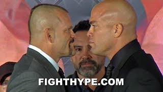 CHUCK LIDDELL STARES DOWN TITO ORTIZ WITH SINISTER GRIN AT FINAL PRESS CONFERENCE