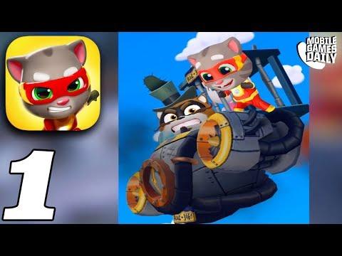 TALKING TOM HERO DASH - BOSS 1 BATTLE SAVING ANGELA - Gameplay Walkthrough Part 1 (iOS Android)